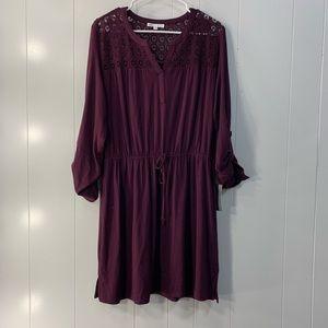 Nordstrom DR2 Burgundy Lace Sleeve Dress